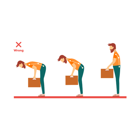 Incorrect neck, spine alignment of young cartoon man character lifting weight. Head bending positions, inclination of neck. Spine care concept. Vector isolated illustration