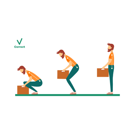 Correct neck, spine alignment of young cartoon man character lifting weight. Head bending positions, inclination of neck. Spine care concept. Vector isolated illustration Banque d'images - 104851426