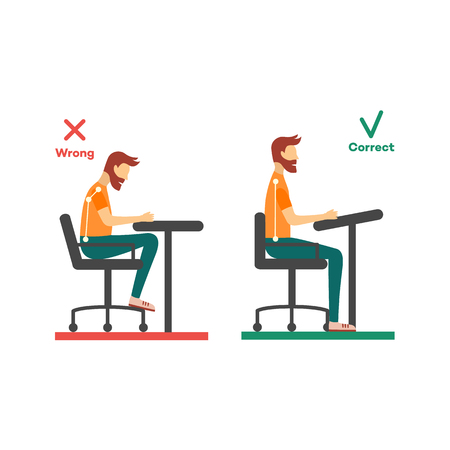 Correct, incorrect neck, spine alignment of young cartoon man character sitting at desk. Head bending positions, inclination of neck. Spine care concept. Vector isolated illustration Иллюстрация