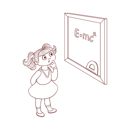 Schoolgirl near blackboard with formula chalk sign isolated on white background - little kid in dress stands and looks with curiosity forward. Black and white hand drawn character. Vector illustration 向量圖像