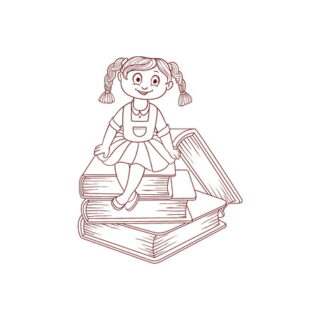 Schoolgirl sits on books cartoon character isolated on white background. Little girl with stack of big classbooks - hand drawn black and white element for back to school theme. Vector illustration. Çizim