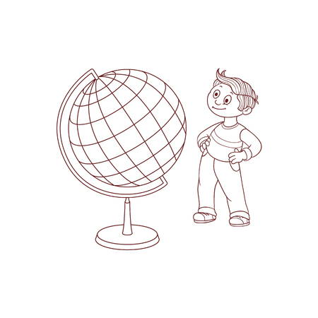 Schoolboy with globe sphere map isolated on white background - black and white hand drawn cartoon little child stands and looks with curiosity at Earth sphere model. Vector illustration.