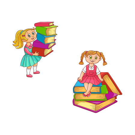 Schoolgirls with books set of little kids holding in hands and sitting on stack of classbooks - colorful back to school concept. Hand drawn cartoon characters of pupils. Vector illustration.