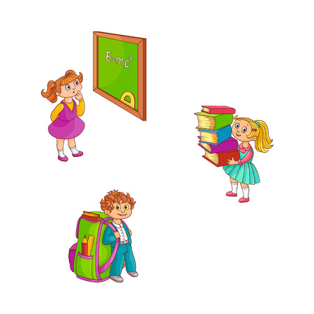 School children with study supplies collection isolated on white background. Hand drawn cartoon characters of pupils with backpack, stack of books and blackboard - back to school vector concept. Vecteurs