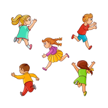 Girls and boys ranaway kids set. Sketch teen male, female characters, children in summer clothing running with afraid face looking back, back view. Isolated vector illustration