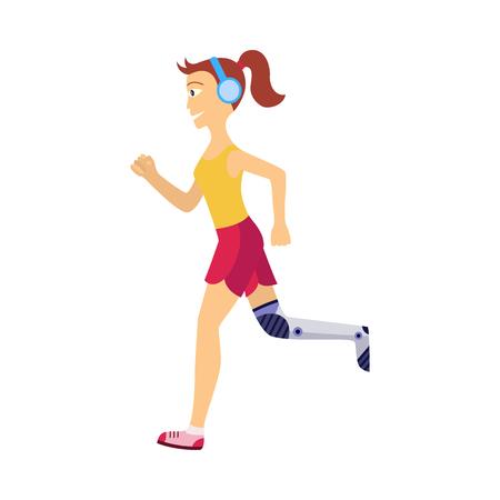Personnage de jeune fille faisant du jogging dans des écouteurs avec un handicap de prothèse de jambe robotique en fer en cours d'exécution. Icône de concept de prothèse mécanique futuriste bionique. Illustration vectorielle isolée