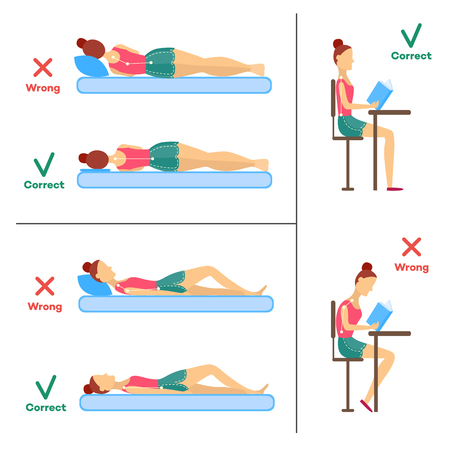 Correct and incorrect neck and spine alignment of young cartoon woman character sitting at desk writing, sleeping. Head bending positions, inclination of neck. Spine care concept. Vector illustration Illustration