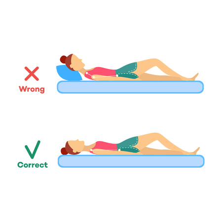 Incorrect and correct neck, spine alignment, curvature of young cartoon woman sleeping with back sleeping posture. Healthy sleeping positions. Back, spine care concept. Vector isolated illustration Standard-Bild - 114936947