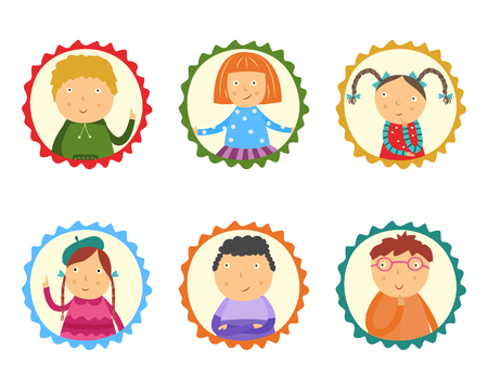 Little kids thinking and having questions and ideas set isolated on white background. Flat cartoon portraits of school age children in frames looking thoughtfully and curiously. Vector illustration. Stock Illustratie