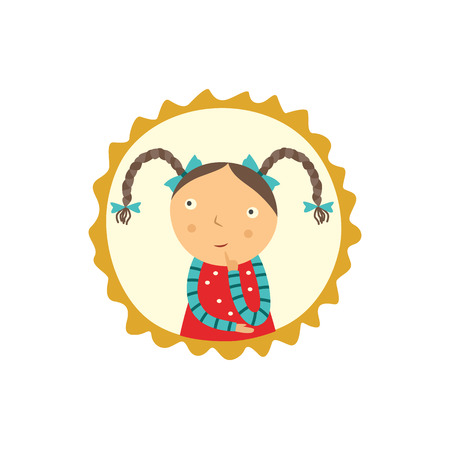 Cute curious little girl with pigtails hairstyles holds her finger near face, looks up and thinks isolated on white background. Funny flat child character portrait in frame vector illustration.