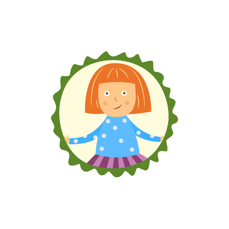 Cute little girl having question with open hands gesture isolated on white background. Flat cartoon child character portrait spreads her hands in misunderstanding in frame, vector illustration. Ilustração