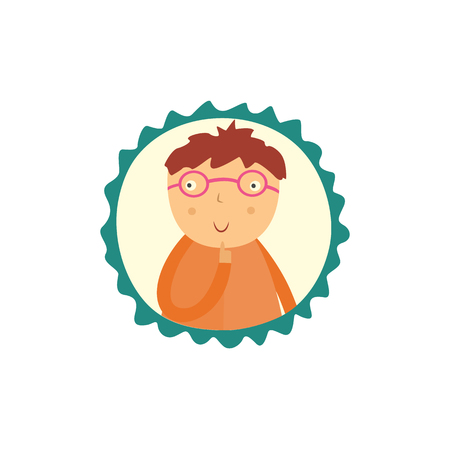Cute curious little boy in glasse holds his finger near face, looks up and thinks isolated on white background. Funny flat kid with question character portrait in frame vector illustration.