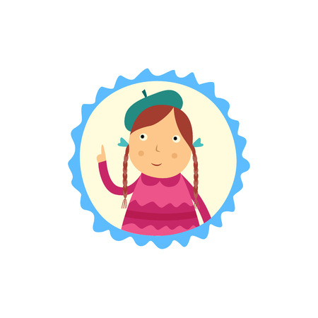 Cute curious little girl with pigtails hairstyles holding her finger up and thinks isolated on white background. Funny flat child character portrait in frame with good idea vector illustration.