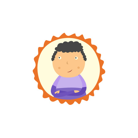 Little boy with crossed arms looking up thoughtfully portrait in frame isolated on white background. Flat cartoon character of school age thinks and makes decision. Vector illustration.