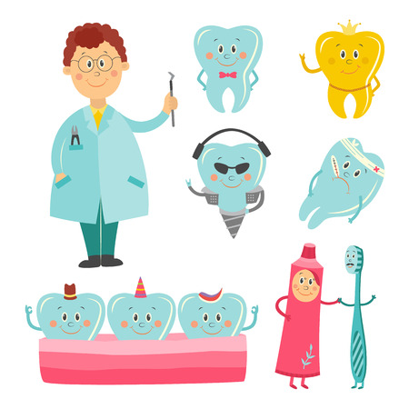 Dental healthcare and prosthetics cartoon characters set with various teeth and implants, oral hygiene tools and dentist doctor isolated on white background, vector illustration Illustration
