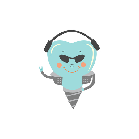 Dental implant cartoon character - cool and strong tooth substitute in rocker jacket, sunglasses and headphones showing horn hand gesture. Isolated vector illustration for dental prosthetics concept.