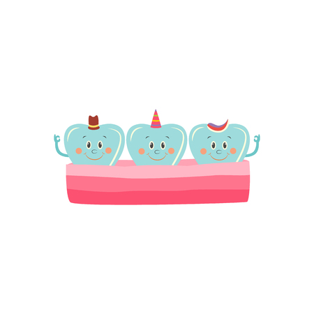 Healthy teeth in gum cartoon characters happy and smiling isolated on white background. Vector illustration of white and shiny teeth in jaw for dental healthcare concept