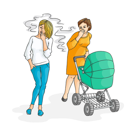 Blonde girl in jeans smoking near annoyed mother with baby stroller. Female caucasian characters, nicotine addiction and passive tobacco smoking risk concept. Vector sketch illustration