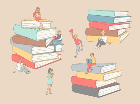 Vector hand drawn sketch people reading books, learning concept set. Girl student or worker standing read, man running with books, adult characters sitting at book piles. Stock Illustratie