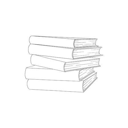 Sketch book pile, stack. Hand drawn library textbooks column, raw. Literature, studying and education design objects. College, university students symbol. Vector monochrome isolated illustration