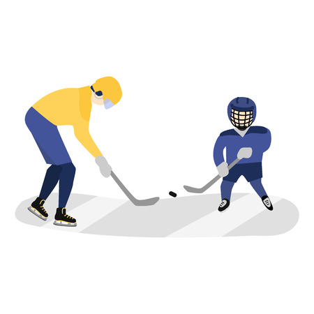 Father and son, adult and kid playing hockey on stadium, flat style vector illustration isolated on white background. Dad and son playing hockey, doing sport activity together, full length portrait