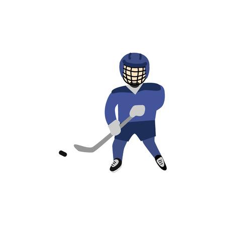 Teenager in Helm und Uniform, die Hockey mit Puck und Stange, Wintersport, flache Artvektorillustration lokalisiert auf weißem Hintergrund spielen. Flacher Karikaturjunge, der Hockey in der Torwächteruniform spielt Vektorgrafik