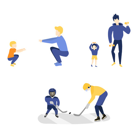 Vector flat young kid boy and fathers adult men doint sports set. Male characters doing squat, dumbbells exercises and playing hockey in protective equipment. Isolated white background illustration