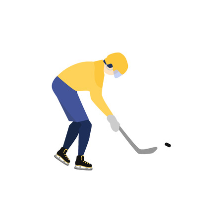 Man in helmet and uniform playing hockey with puck and pole, winter sport, stylized flat style vector illustration isolated on white background. Flat style man playing hockey, professional player