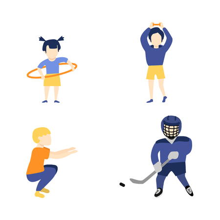 Vector flat young kid boy, girl doint sports set. Male characters doing squat, dumbbells exercises and playing hockey in protective equipment, girl rotating hula hoop. Isolated background illustration