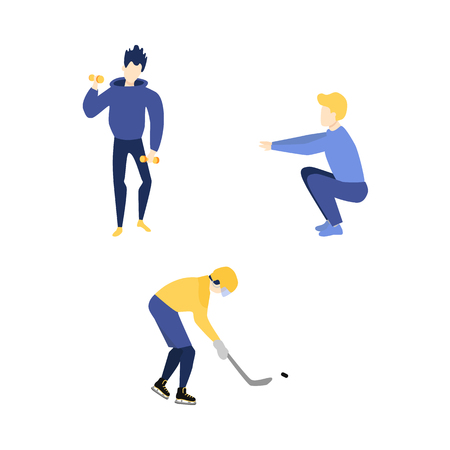 Vector flat adult men doint exercises, sports set. Male characters in casual athletic clothing doing squat, dumbbell workout, man playing ice hockey in protective equipment. Isolated illustration