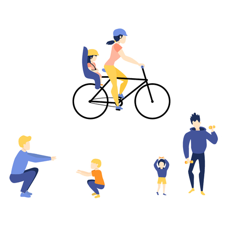 Vector flat girl kid adult woman boy child man athletic clothing doing dumbbell, squat workout exercises, riding two-seater bicycle. Family character doing sport. Isolated background illustration Illustration