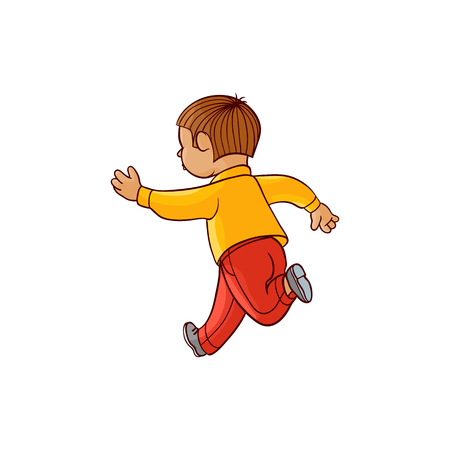 Boy in casual clothing running looking back. Ranaway kid icon. Sketch teen male brunette character, child running with afraid face back view. Isolated vector illustration Çizim