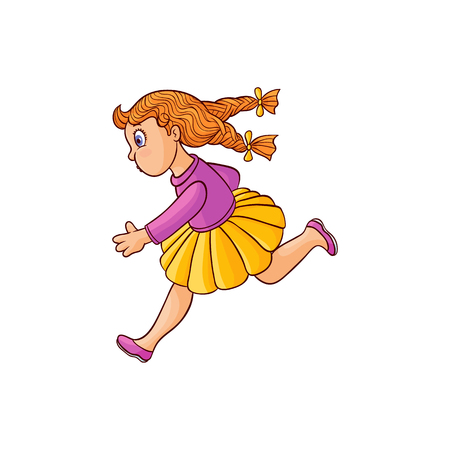 Girl in summer clothing, skirt running looking back. Ranaway kid icon. Sketch teen female redhead character with bow in pigtails, child running with afraid face side view. Isolated vector illustration