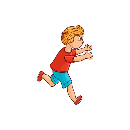 Boy in summer clothing, denim shorts, tshirt running looking back. Ranaway kid icon. Sketch teen male redhead character, child running with afraid face side view. Isolated vector illustration