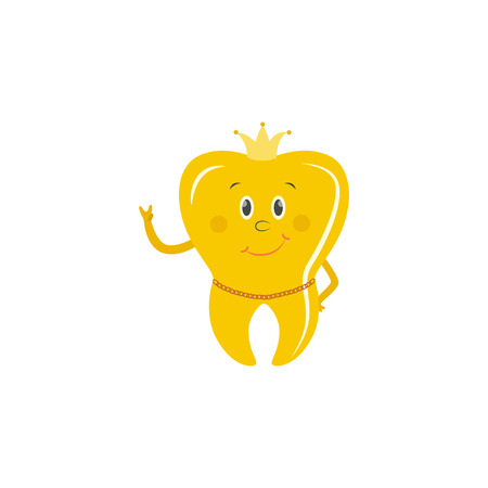 Golden tooth crown cartoon character stands smiling showing peace hand gesture with crown on head and gold chain around neck isolated on white background, vector illustration.