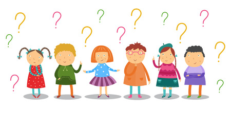 어린 아이들은 신중하게 보고 흰색 배경에 격리된 많은 물음표 아래에 서 있습니다. 평평한 만화는 흥미롭게도 학령기 아이들이 질문과 아이디어를 가지고 있습니다. 벡터 일러스트 레이 션. 벡터 (일러스트)