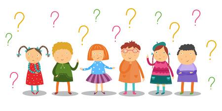 Los niños pequeños miran pensativamente y se colocan bajo muchos signos de interrogación establecidos aislados sobre fondo blanco. Dibujos animados planos curiosamente niños en edad escolar que tienen preguntas e ideas. Ilustración de vector. Ilustración de vector
