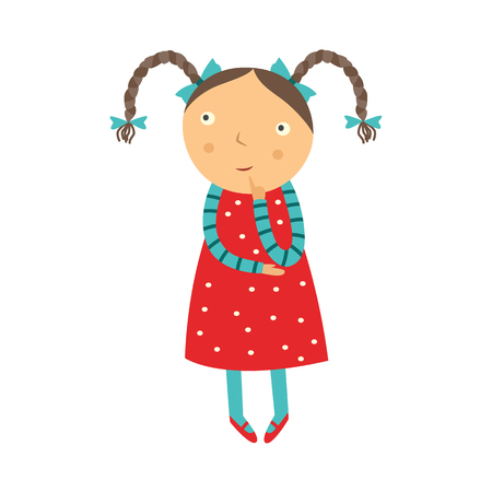 Cute curious little girl with pigtails hairstyles stands with her finger near face, looks up and thinks isolated on white background. Funny flat child character vector illustration.