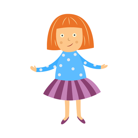 Cute little girl spreads her hands in misunderstanding isolated on white background. Flat cartoon child character having question with open hands gesture, vector illustration. Ilustração