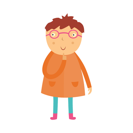 Cute curious little boy in glasses stands with his finger near face, looks up and thinks isolated on white background. Funny flat kid with question character vector illustration.