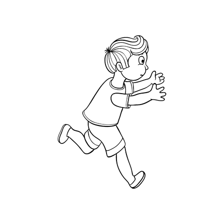 Boy in summer clothing, denim shorts, tshirt running looking back. Ranaway kid icon. Sketch teen male character, child running with afraid face side view. Isolated monochrome vector illustration