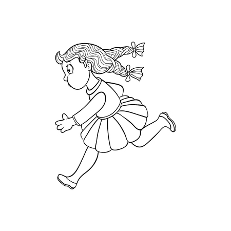 Girl in summer clothing, skirt running looking back. Ranaway kid icon. Sketch teen female character with bow in pigtails, child running afraid face side view. Isolated monochrome vector illustration