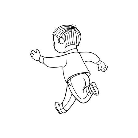 Boy in casual clothing running looking back. Ranaway kid icon. Sketch teen male brunette character, child running with afraid face back view. Isolated monochrome vector illustration