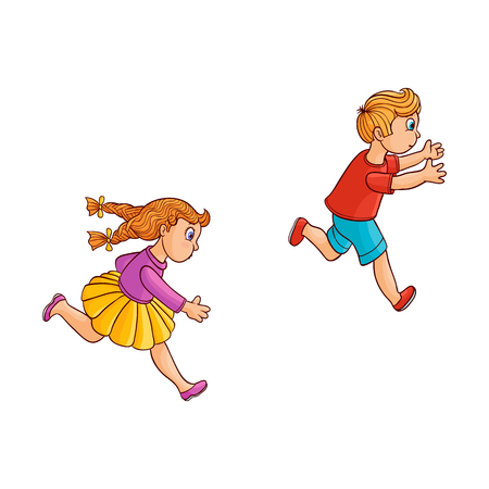 Girl and boy ranaway kids set. Sketch teen male, female characters, children in summer clothing running with afraid face looking back, side view. Isolated vector illustration