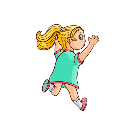 Girl in summer dress running looking back. Ranaway kid icon. Sketch teen female blonde character, child running with afraid face back view. Isolated vector illustration Çizim