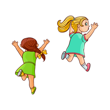 Girls in summer dress running looking back. Ranaway kids set. Sketch teen female characters, children running with afraid face back view. Isolated vector illustration Ilustração