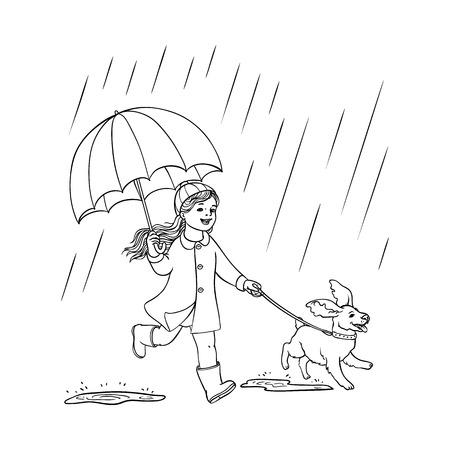 Vecteur croquis dessin animé jeune fille enfant mignon manteau marche chien chiot animal de compagnie tenant un parapluie sous la pluie souriant. Caractère féminin temps d'automne pluvieux isolé illustration monochrome fond blanc