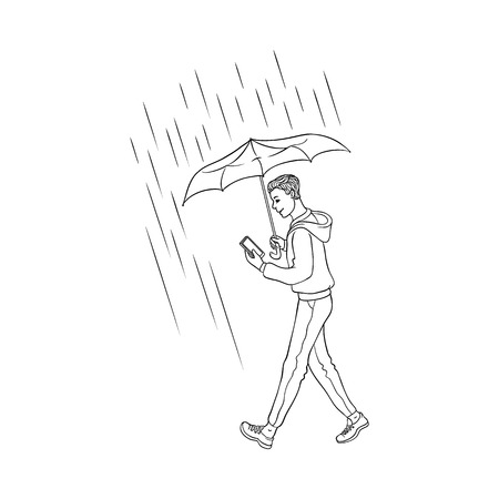 Vector sketch cartoon young man walking holding umbrella under rain jeans hoodie smiling looking in smartphone. Happy male character rainy summer weather isolated monochrome illustration