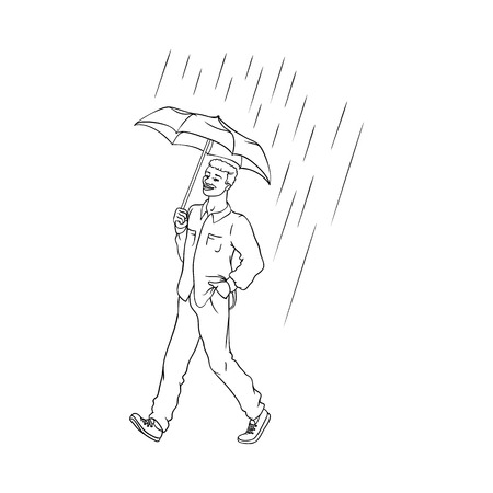 Vector sketch cartoon young african black man walking holding umbrella under rain smiling in shirt jeans. Happy male character at rainy summer weather isolated monochrome illustration white background