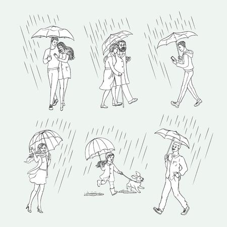 Vector sketch people monochrome characters walking under rain umbrella set. Young senior elderly couples hugging girl kid run dog puppy woman waving hand, caucasian man smartphone, african one smiling Illustration